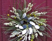 """Year-round or holiday wreath-soft greens and whites, """"Forest Elf wreath"""" neutral earth colors, natural dried & permanent small wreath"""