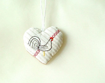 Rooster Heart Ornament, White Heart, Kitchen Decor, modern rustic, folk art, chicken hanging, original valentines gift, primitive heart