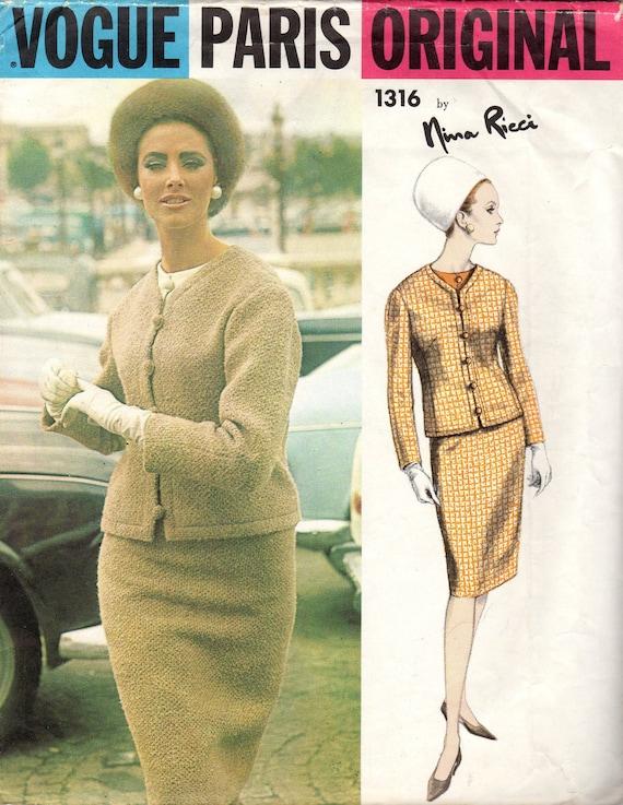 On Reserve 1960's Misses' Suit and Blouse Vogue Paris Original 1316 by Nina Ricci Size 12  Bust 32