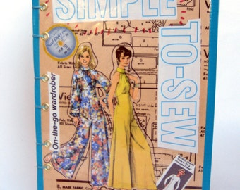 Gift for Seamstresses, Tailors, Fashion Designers with Collaged Retro Sketchbook and Scrabble Cuff
