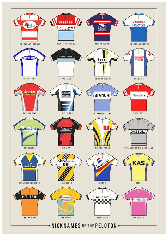 Art Print: Nicknames of the Peloton Image: Neil Wyatt - The Handmade Cyclist