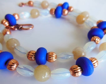 Cobalt blue on Milky white with copper necklace 336