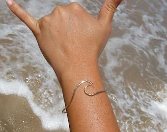 Wave Bangle, Gold Bracelet, Surfer Girl, Christmas Gift Idea, Hawaiian Beach Jewelry, Ocean Mermaid Fashion, Waves, Handmade Maui Hawaii,