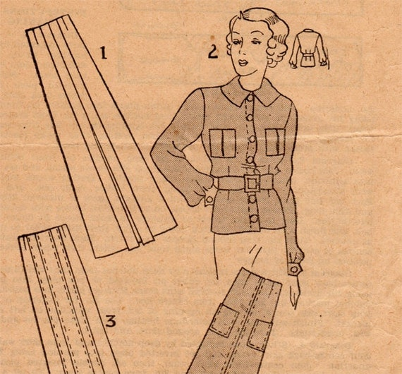 1930s Blouse & Skirts Vintage Sewing Pattern - Mail Order Australian Women's Weekly Bust 34 FF