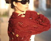 Marsala Knitted Shrug/ Knit Shrug/ Wool Shrug/ Knit Shawl Brick Bolero/ Wool Sweater/ brown by Solandia, gift, color year 2015, fall fashion