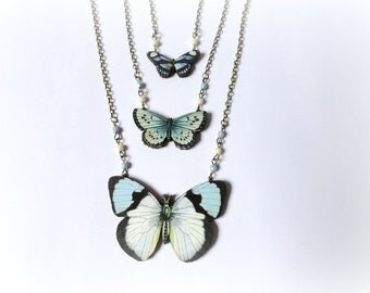Butterfly  flight - Multistrand butterfly necklace Wood pendants Teal blue turquoise black white ivory Gift for her Woodland jewelry