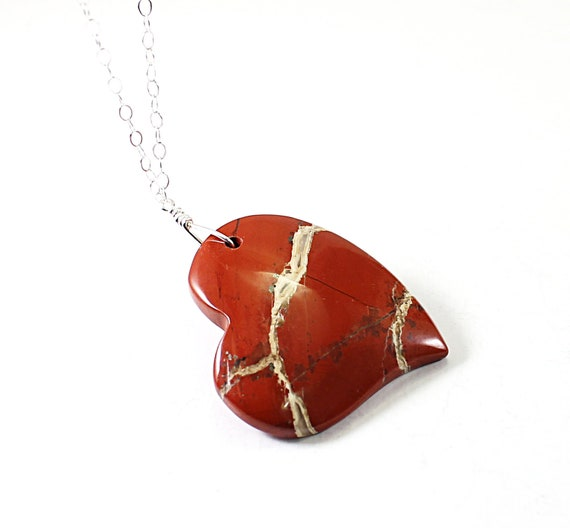 Heart necklace: silver red gemstone necklace, stone heart jewelry, love gift for girlfriend, wife, sterling silver, natural river jasper