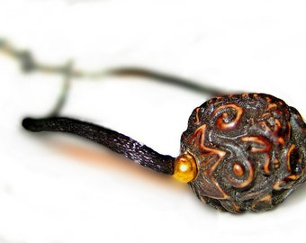 Adjustable Carved Asian Style Pendant Necklace On Black Silk Yarn