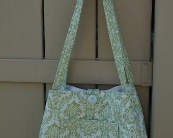 Green damask bucket purse