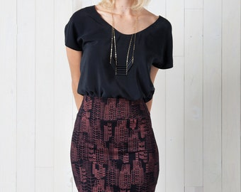 Feather Cities Pencil Skirt