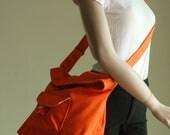 Fathers Day SALE 20% - BAGGO in Orange (Water Resistant) Purse / School / Laptop / Shoulder / Messenger / tote / Handbag / Wallet