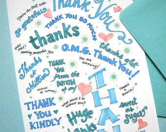 Typography Thank You Card - Modern Thank You Card - Thank You Gift Card - Coworker Thank You - Hand Lettered Card
