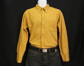Hopsack Mens Yellow Shirt by Jayshire, Large.