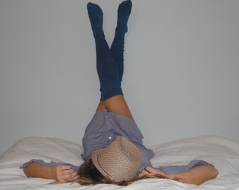 Thigh High Socks Blue Hand Dyed