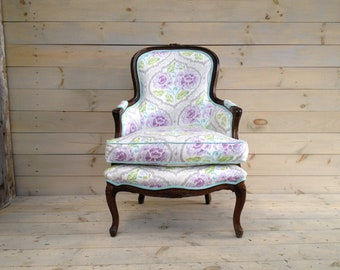 Antique French Bergère Chair in Ikat Linen