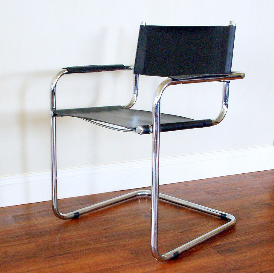 MODERN VINTAGE BLACK Leather Chair Cantilever By ACESFINDSVINTAGE
