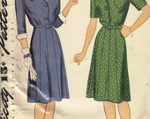 Vintage 1940's Women's Dress Pattern, Simplicity 4992 Sewing Pattern, Size 36