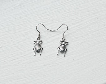 Beetle Earrings- Woodland Insect Jewelry- Animal Bug Wings