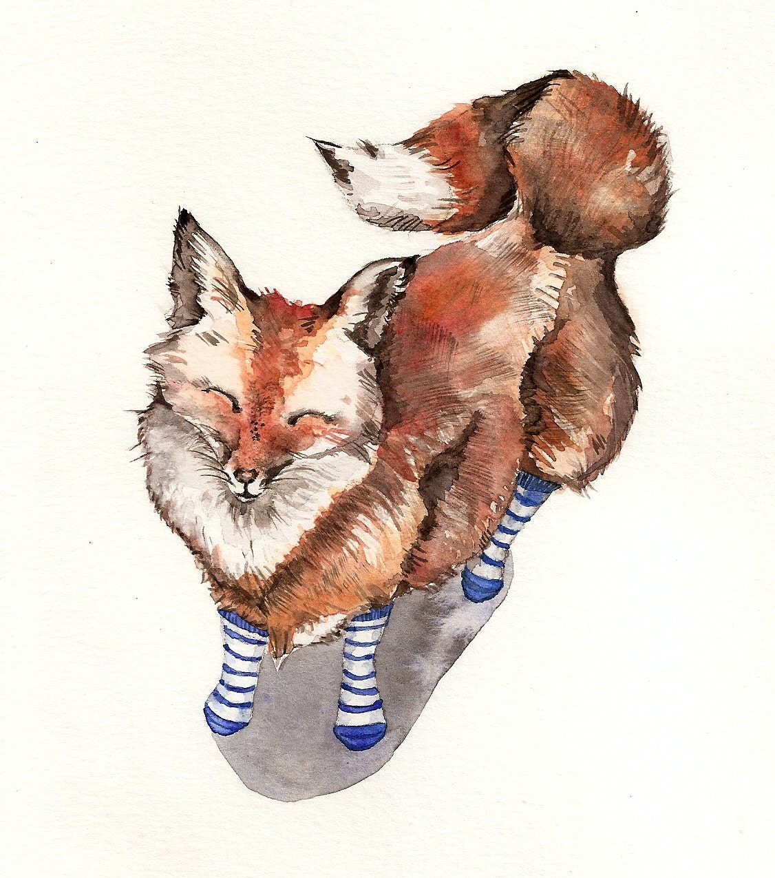 Red Fox Art Smiling red fox in blue socks