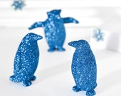 Blue Glitter Penguins Metallic Home Decor, Winter Weddings, Cake Topper, Wintry Reception Tablescapes or Holiday Party Centerpieces