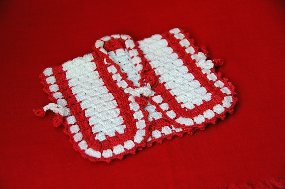 Vintage Hand CROCHET POT HOLDER Red and White Jacket, Pot Holder, Doll Jacket, Bottle Cover, Red