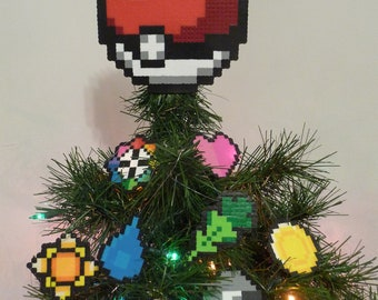 ORIGINAL Pokemon Pokeball Perler Bead Christmas Tree Topper Set (9 Piece) generation 1 gym badges - nintendo