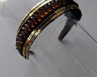 Brown Stone Gold Sequin Black Satin Headband, for weddings, parties, evening, special occasions