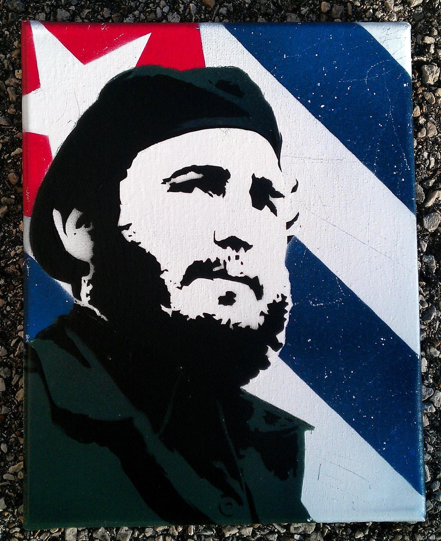Fidel Castro Cuban Flag Original Stencil Art Painting Street