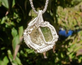 Sunstone and Tourmaline Wire Wrapped Pendant