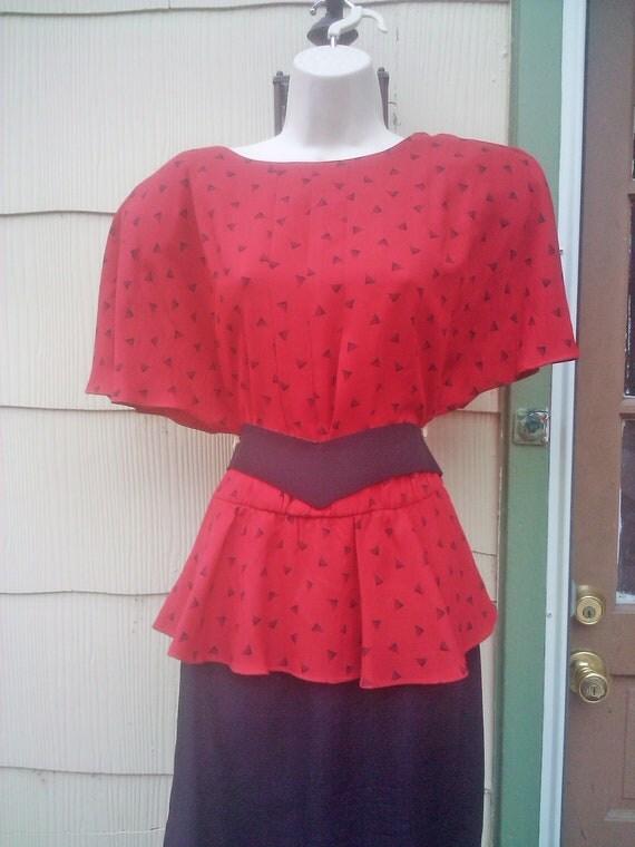 Vintage 1980s Red Dress 1940s Style Peplum Large Plus Size  Designing Women