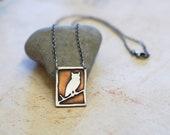 Owl necklace. Barn Owl. Sterling Silver and Copper Owl Necklace. Owl Silhouette. Mixed Metal Jewelry.