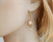 Bridal Earrings - Pearls and Rhinestone,Silver,Pink Champagne Pearls,Real Genuine Pearls Earrings,Vintage Victorian Wedding Jewelry