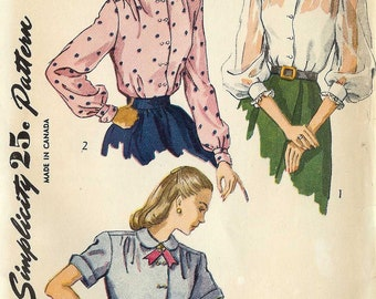 Simplicity 6440 Ladies feminine blouse shirt with collar and sleeve variations Size 12 Vintage uncut unused sewing pattern 50s