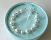 Baby Pearl Bracelet for Christening Baptism Blessing or Communion, Flower Girl Bracelet Baby Shower Gift Sterling Silver Charm Bracelet