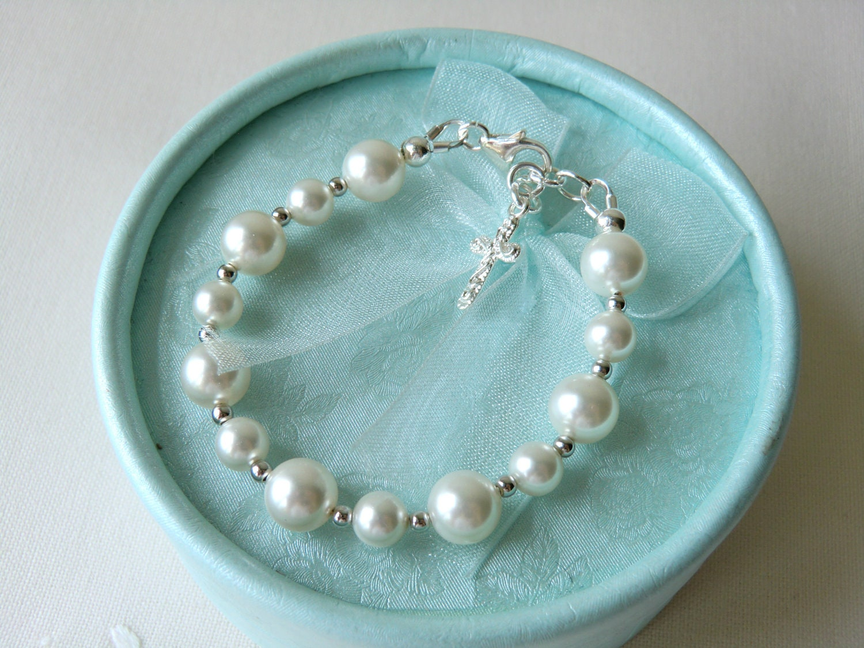 Baby Pearl Bracelet For Christening Baptism Blessing Or