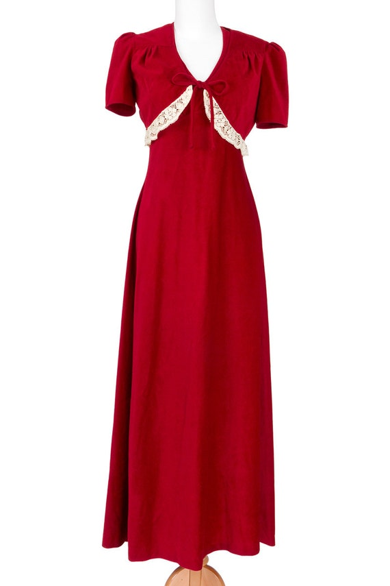 70s Vintage Maxi Dress Red Velvet Cape Criss Cross Back Small Medium