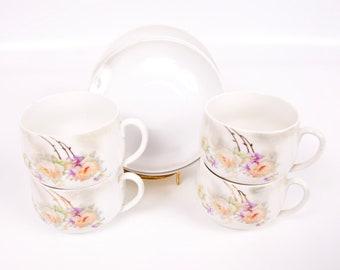 Antique Leuchtenburg Germany Lusterware Teacups Saucers Demitasse 4 sets Hand Painted Roses