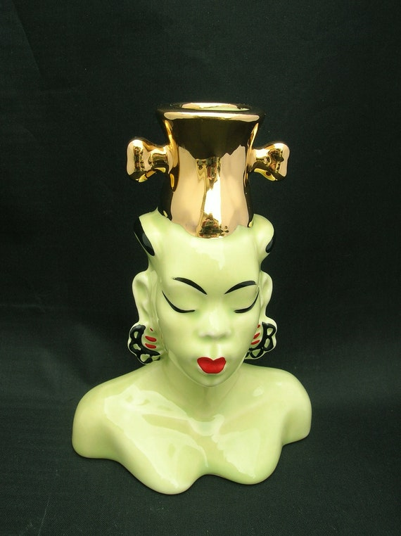 Chartreuse Woman Head Vase African Or Asian Green And Gold