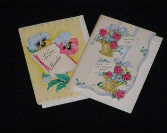 Two Sweet Vintage Thank You Cards by Greetings Inc Never Used