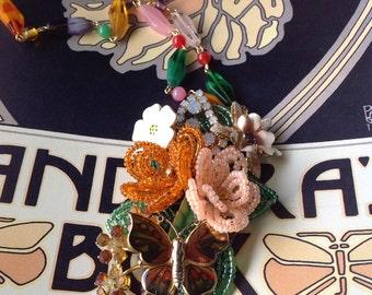 Layered Enamel Flower Rhinestone Butterfly Wishes Necklace Ooak