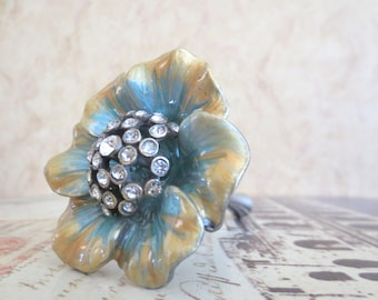 Wine Bottle Stopper - Golden Turquoise Jeweled Flower Wine Stopper