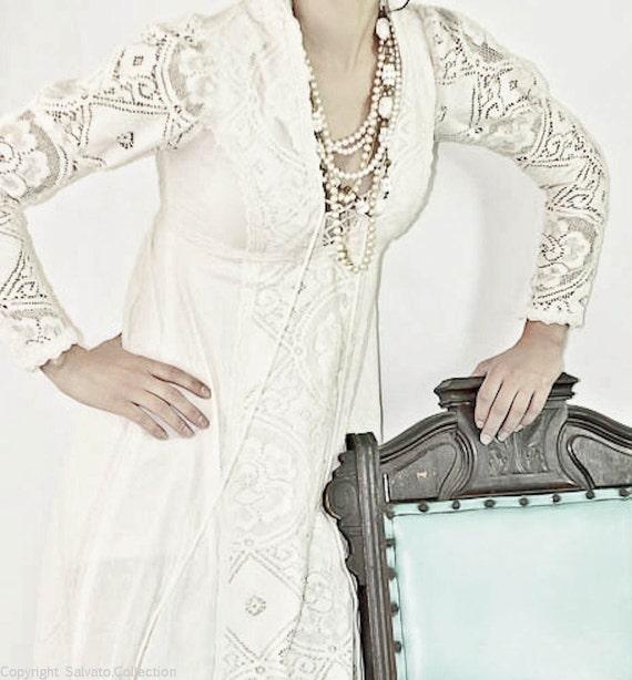 White Crotchet Laced Peasant Wedding Dress // Renascence Revival