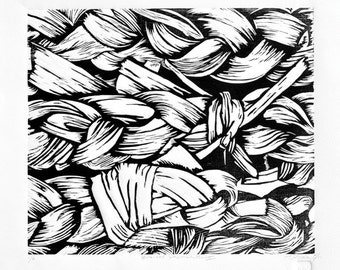 Woodblock Relief Print, 13x11 BRAIDED PAPERWHITES II Black & White Graphic from the Garden