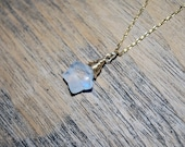 Rainbow MoonStone Necklace - Star Shaped Gem - 14KT Gold Filled Wire Wrapped & Chain
