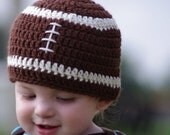 SALE Ready-to-ship: Football Hat Beanie for Newborns, Baby, toddlers, photography props, baby shower gift, Sports, Boy Hat, Crochet