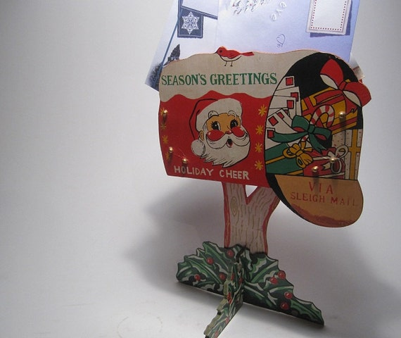 CLEARANCE Vintage Christmas Card Holder Decor By