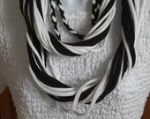 Recycled Classic T Shirt Scarf Black and White