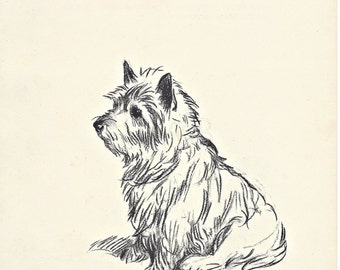 WESTIE - 1930s Dog Print, Terrier PRint, Pet Art Illustration, Lucy Dawson, Wall Art, Home Decor, black & white print, wall decor, B-1
