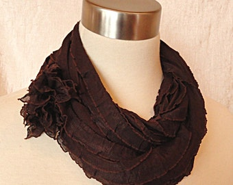 Chocolate Brown Infinity Scarf -  Ruffled Circle Scarf - SALE