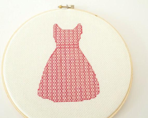 Modern cross stitch pattern PDF - Retro Pink Dress, Fashion Colleciton